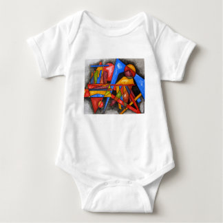 Two Ships-Abstract Art Geometric Hand Painted Baby Bodysuit