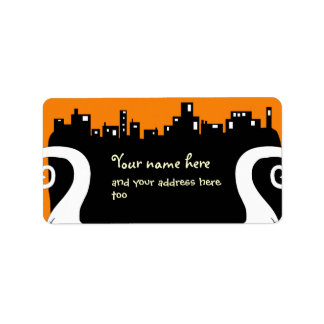 Two side ghosts Halloween address label