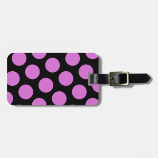 Two Sided Black and Orchid Polka Dots Luggage Tag