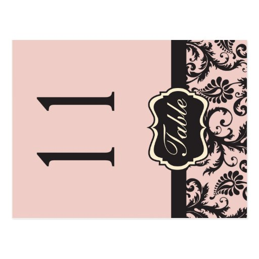 Two Sided Blush Pink and Grey Damask Table Number Postcard