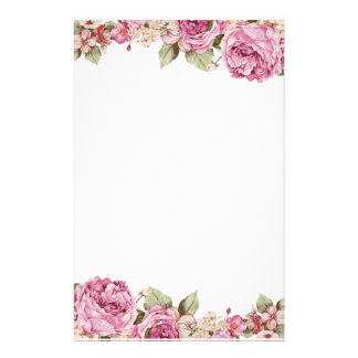 Two Sided Border with Pink Rose Painting Stationery