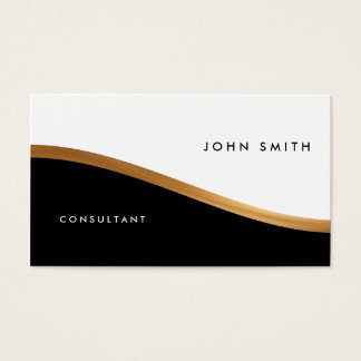 Two-Sided Business Card, Black & White, Gold Business Card