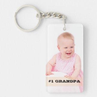 Two Sided Custom Photo #1 GRANDPA Grandfather Gift Double-Sided Rectangular Acrylic Key Ring