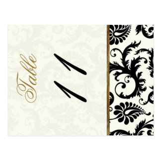 Two Sided Ivory, Gold, and Black Table Number Postcard