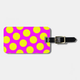 Two Sided Magenta and Yellow Polka Dots Bag Tag