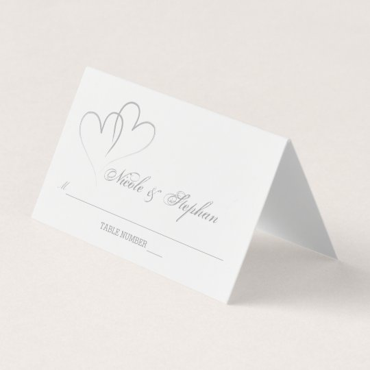 Two Silver Hearts Intertwined Place Card | Zazzle.com.au