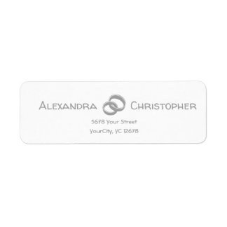 Two Silver Rings intertwined Return Address Label