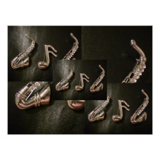 Two Silver Saxophones with a musical note Print