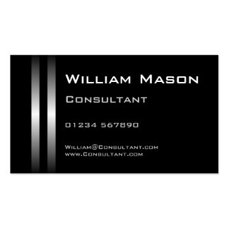 Two Silver Stripes Black Business Card