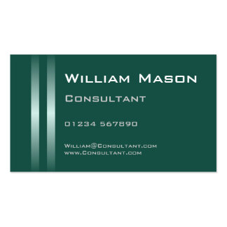 Two Silver Stripes Teal Green Business Card