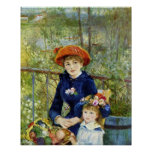 Two Sisters By Renoir, Vintage Impressionism Art Poster
