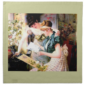 Two Sisters Friends Reading Letter painting Napkins