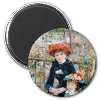 Two Sisters on Terrace by Renoir. Fine art print. 6 Cm Round Magnet