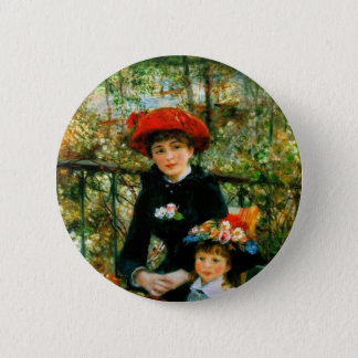 Two Sisters On the Terrace by Renoir 6 Cm Round Badge