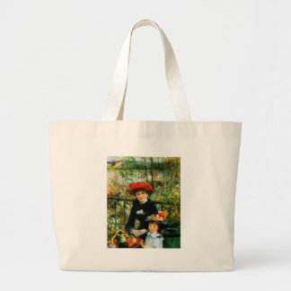 Two Sisters On the Terrace by Renoir Jumbo Tote Bag