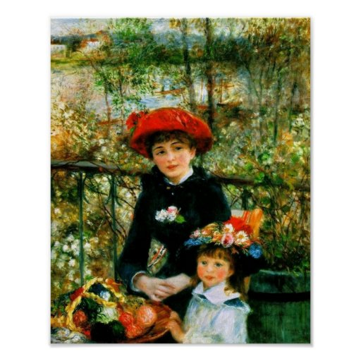 Two Sisters On the Terrace by Renoir Poster