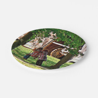 Two Sisters Playing on Swing 7 Inch Paper Plate
