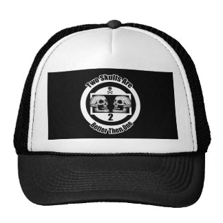 Two Skulls Are Better then One - Black & White Cap