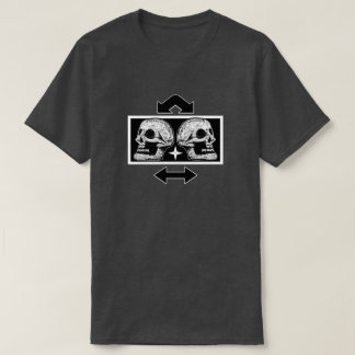 Two Skulls Back to Back Arrows- Black & White T-Shirt