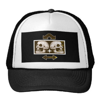 Two Skulls -Back To Back Black & White Arrows Fade Cap