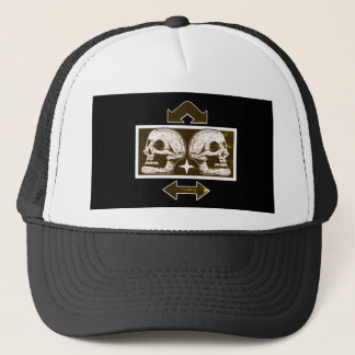 Two Skulls -Back To Back Black & White Arrows Fade Trucker Hat