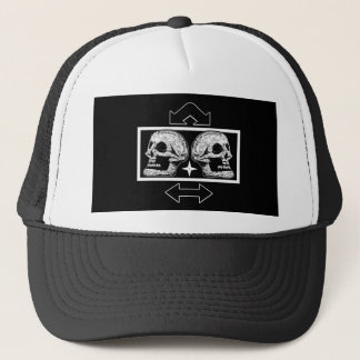 Two Skulls -Back To Back Black & White -Arrows Trucker Hat