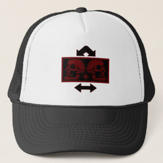 Two Skulls -Back To Back Dark Red -Arrows 2 Trucker Hat