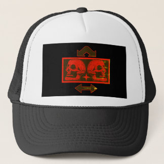 Two Skulls -Back To Back Dark Red -Arrows Fade Trucker Hat