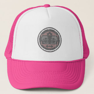 Two Skulls - Faded Pink -Distressed Logo Trucker Hat