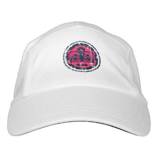Two Skulls - Neon Pink Arrows -Distressed Logo Hat