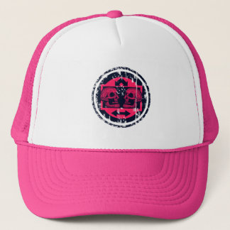 Two Skulls - Neon Pink- Arrows -Distressed Logo Trucker Hat