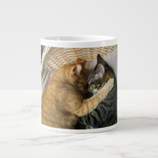 Two Sleeping Tabby Cats Cuddling Large Coffee Mug