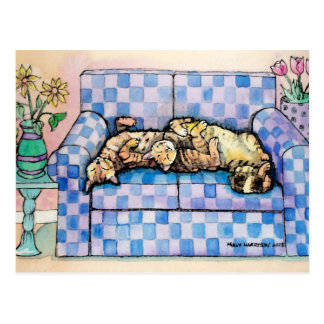 Two Sleeping Tabby Cats Postcard