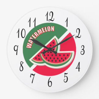 Two Sliced of Watermelon Large Clock