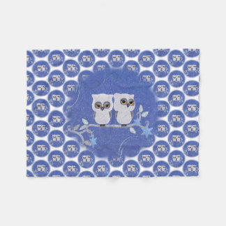 Two small white owls fleece blanket