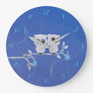 Two small white owls large clock