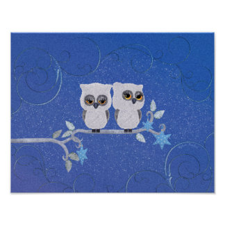 Two small white owls poster