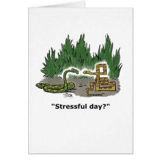 Two snakes, one relaxed and the other stressed. card