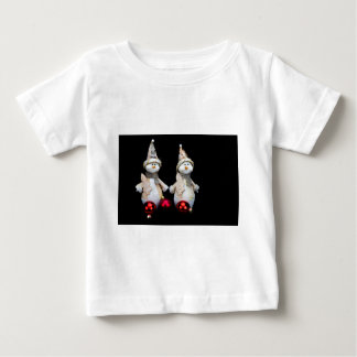 Two snowmen figurines with red baubles on black baby T-Shirt