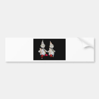 Two snowmen figurines with red baubles on black bumper sticker