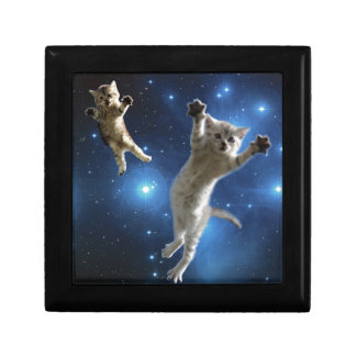 Two Space Cats Floating Around Galaxy Gift Box