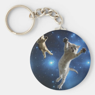 Two Space Cats Floating Around Galaxy Key Ring