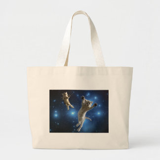 Two Space Cats Floating Around Galaxy Large Tote Bag