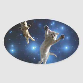 Two Space Cats Floating Around Galaxy Oval Sticker