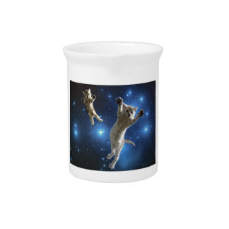 Two Space Cats Floating Around Galaxy Pitcher