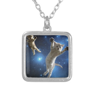 Two Space Cats Floating Around Galaxy Silver Plated Necklace