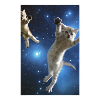 Two Space Cats Floating Around Galaxy Stationery