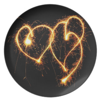 Two Sparkler Hearts Plate