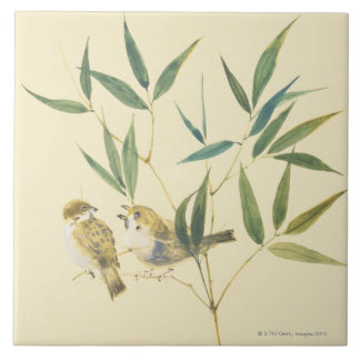 Two Sparrows Ceramic Tile