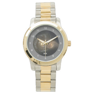 Two Spiral Galaxies Collide Two Tone Personal Wrist Watches